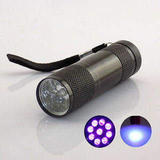 9 LED UV Torch Ultra Violet Flashlight Torch Portable AAA Battery Money Checker