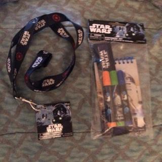 "BNIP Disney's: ""STAR WARS"": 18"" Lanyard & 5 Pc Stationery Set! Ruler/Markers/Note pad"