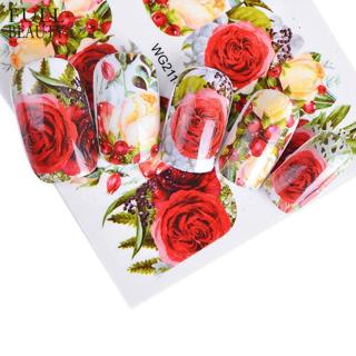 Full Beauty 1pcs Nail Sticker Optional Blossom Colorful Flower Rose Valentine Water Full Wraps Nai