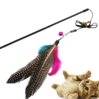 Great Kitten Play Interactive Fun Toy Cat Teaser Wand Pet Colorful Feather +Bell