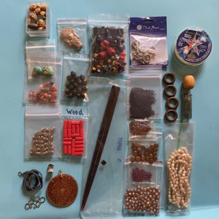 Lot of natural materials wood horn stone glass clay jewelry supplies & beads - GIN bonuses!