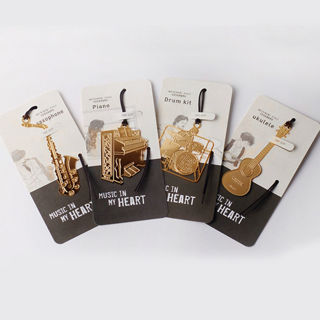 4PCS/Set Creative Musical Instrument Shaped Metal Bookmarks Cute Bookmark