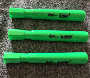 THREE Brand New Green QUILL Highlighters