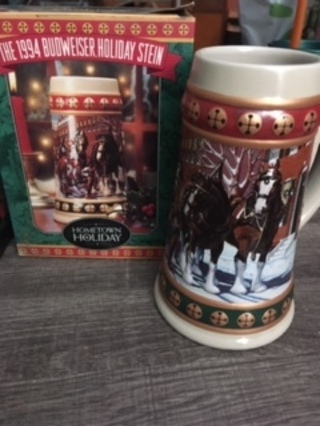 Perfect Father's Day Gift! Anheuser-Busch 1994 Holiday Stein WITH Box and Certificate