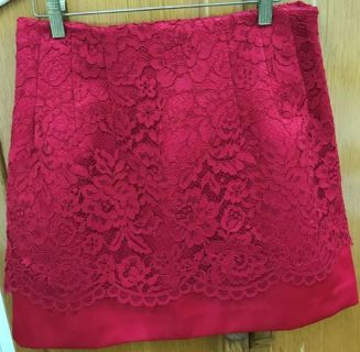 H&M Red Lace/Satin Mini-skirt Size 10
