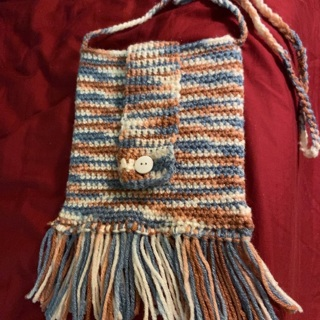 Hand crochet Purse with Flap over Closure and Cross Body Shoulder Strap .