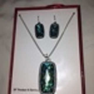 Abalone Color Earring & Necklace with Pendant