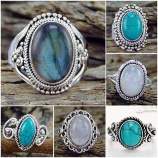 Fashion Women White Gold Turquoise Moonstone Ring Wedding Bridal Jewelry 6-10