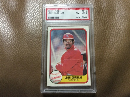 GRADED LEON DURHAM ROOKIE 1981 Fleer Baseball Card #540 ST. LOUIS CARDINALS RC PSA 8 NM-MT
