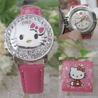 Hello Kitty Crystal Leather Wrist Watch