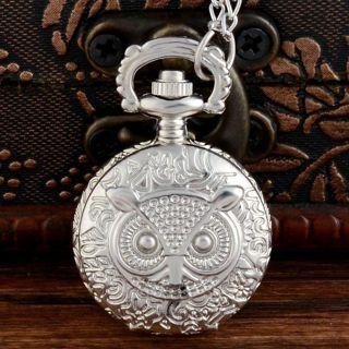 Retro Silver Vintage Night Owl Pocket Watch Quartz Antique Necklace Gifts Chain