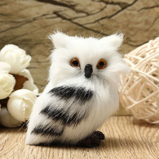 [GIN FOR FREE SHIPPING] Owl White Black Furry Ornament Decor Adornment Simulation