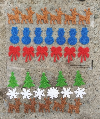 CHRISTMAS GLITTER FOAM RUBBER STICKERS REINDEER SNOWMAN RED BOWS TREES SNOWFLAKE