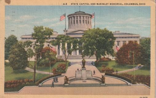 Vintage Used Postcard: 1943 State Capitol & McKinley Memorial, Columbus, OH