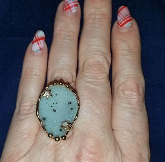 Beautiful Statement Quartz Crystal Ring - gold plated (?) Adjustable size Free Shipping!