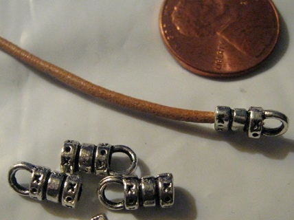 20 Pewter Crimp Ends for Leather or Cord ~ Free Shipping ~ Gin