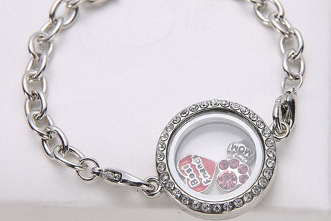 Hot DIY Living Memory Floating Charm Crystal Glass Round Locket Pendant Necklace