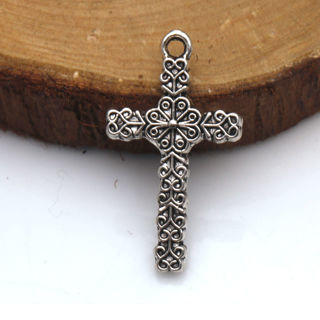 30PCs Alloy Pendant Cross Tibetan Silver Charms Pendants Crafts Jewelry Finding