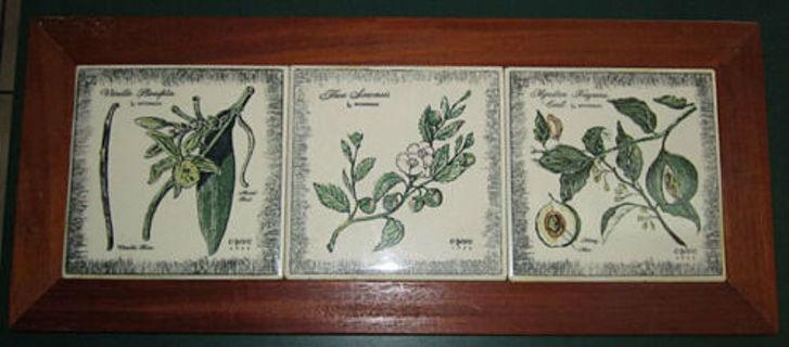 Mc comick spice trivet tiles 1955 folk art wood frame collectible vintage home
