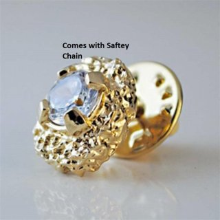 Mens Nugget and CZ Tie Tack in Heavy Yellow Gold