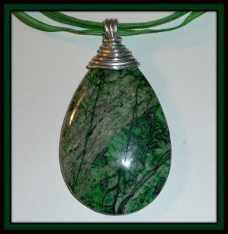 Beautiful GREEN GEMSTONE Wire-Wrapped Pendant on Organza Ribbon Necklace!