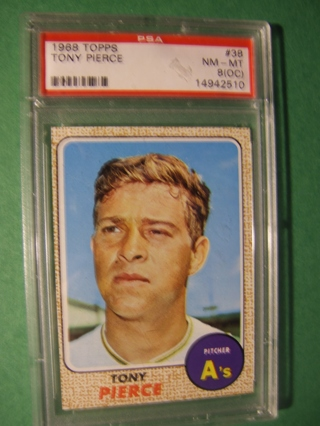 1968 - TOPPS  NRMT - MINT BASEBALL - CARD NO. 38 - TONY PIERCE -A'S - PSA -8