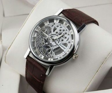 Fashion Men's Date Leather Stainless NEW Steel Military Sport Wrist Watch