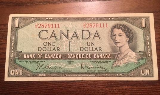 1954 $1 Canada bill