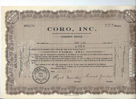 CORO Inc. stock certificate 1944 famous costume jewelry company Formerly Cohn & Rosenberg