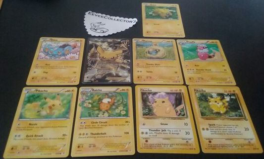 9 Electric Pokemon Cards 7 New 2 Used