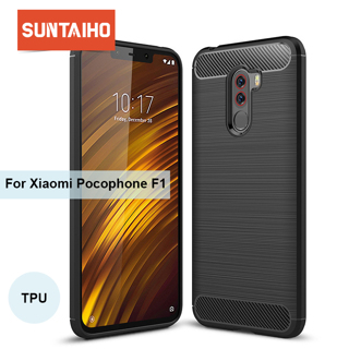 Suntaiho For Xiaomi Pocophone F1 Case Carbon Fiber Shockproof TPU Back Cover Case for Xiaomi