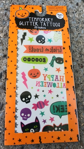 BRAND NEW IN PACKAGE HALLOWEEN TEMPORARY GLITTER TATTOOS