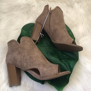 NEW Faux Leather Open Toe Ankle Booties