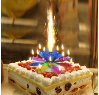 FREE Lotus Candle Happy Birthday Multi Color Singing Cake Topper