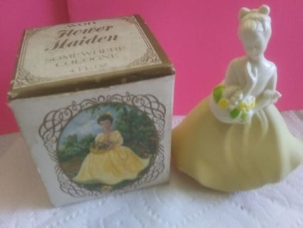 Vintage Avon Yellow Flower Maiden Somewhere Cologne Collectible Full w/Box
