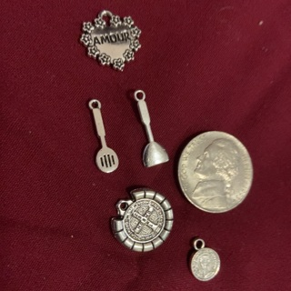 Five Zink Alloy Antique Silver Charms. #21