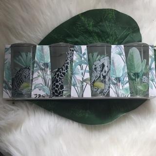 DROPPED GIN NEW 4 Pack Safari Animals Fig & Fern Glasses