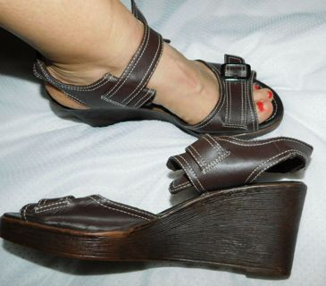 Brown MaryJane Wedge Sandals-Shoes 9.5 American Eagle