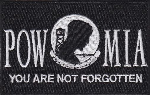 "1 POW MIA Flag Embroidered Patch Iron on 3.5""x2.25"" Free Shipping Military Veteran War"