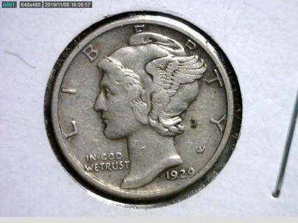 ★↪...1929-P MERCURY DIME 90% Silver Coin...↩★