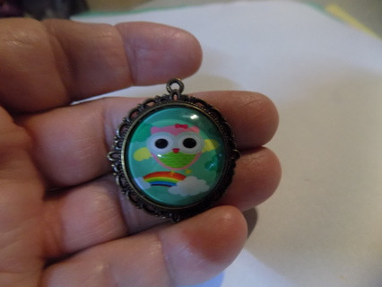 glass domed pendant charm brass with Owl & rainbow & cloud