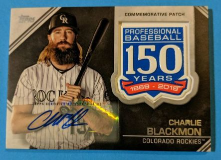 SIGNED CHARLIE BLACKMON COMMEMORATIVE PATCH CARD