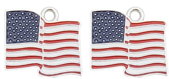 10pcs USA Flag Heart Charms Lot 7 (PLEASE READ DESCRIPTION)