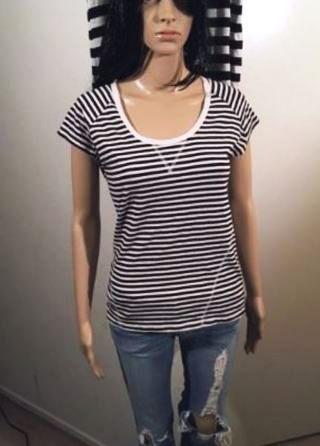 1 Cute Striped Top T Shirt Deep Neck FREE SHIPPING