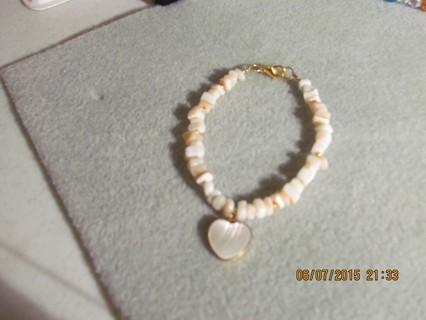 Cream Bracelet with Heart Charm