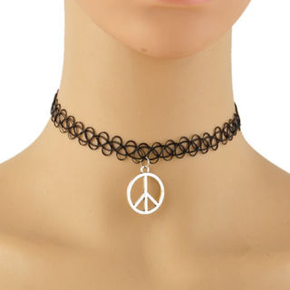 Vintage Stretch Tattoo Choker Necklace Pendant Peace Punk Elastic