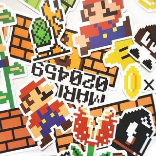 25 Pcs Pvc Waterproof Super Mario Cartoon Sticker