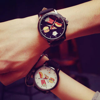 Food Cartoon Men Women Stainless Steel Leather Quartz Wrist Watch Fashion New