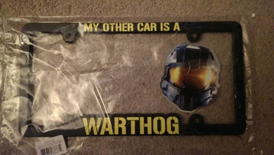 free halo master chief collection license plate holder from microsoft launch event rare