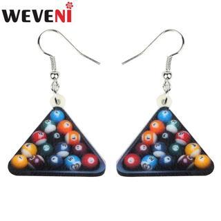 WEVENI Acrylic Funny Fashion Triangle Colorful Billiard Earrings Trendy Cute Jewelry For Women Girls